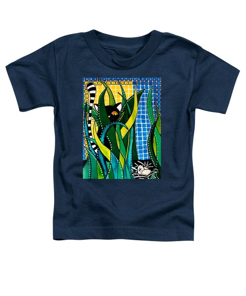 Toddler T-Shirt featuring the painting Hunter In Camouflage - Cat Art By Dora Hathazi Mendes by Dora Hathazi Mendes