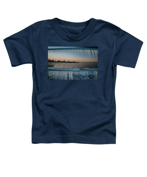 Icicles And Chicago Skyline Toddler T-Shirt
