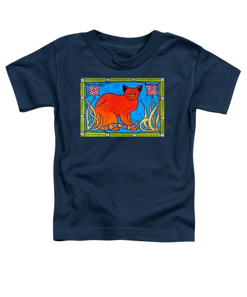 Toddler T-Shirt featuring the painting Indian Cat With Lilies by Dora Hathazi Mendes
