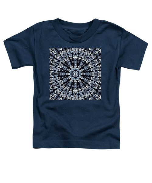 Toddler T-Shirt featuring the digital art Indigo Flow Blue Kaleidoscope by Joy McKenzie