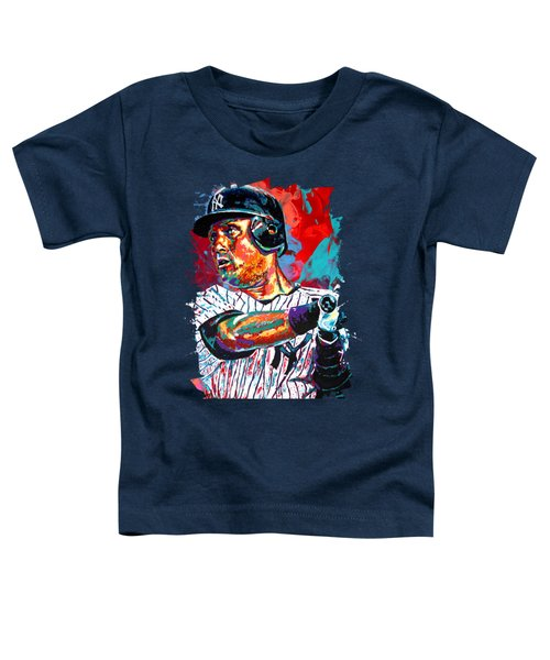 Jeter At Bat Toddler T-Shirt by Maria Arango