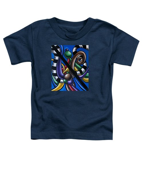 Colorful 3d Abstract Art Painting - Multicolored Original Artwork - Black And White Stripes Toddler T-Shirt