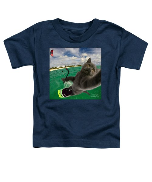 Kite Surfing Cat Selfie Toddler T-Shirt