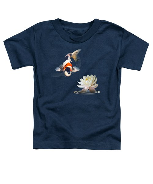 Koi Carp Abstract With Water Lily Square Toddler T-Shirt by Gill Billington