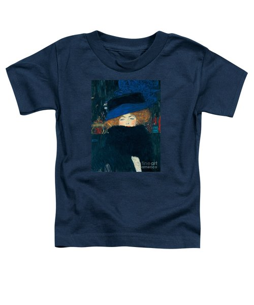 Lady With A Hat And A Feather Boa Toddler T-Shirt by Gustav Klimt