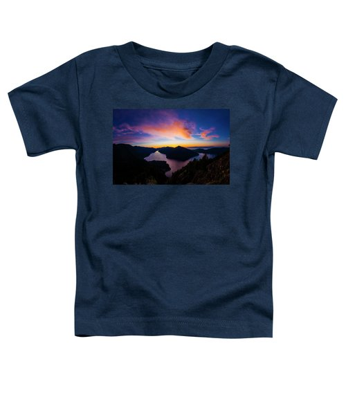 Lake Crescent Sunset Toddler T-Shirt by Pelo Blanco Photo