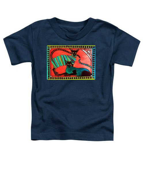 Toddler T-Shirt featuring the painting Legend Of The Siamese - Cat Art By Dora Hathazi Mendes by Dora Hathazi Mendes