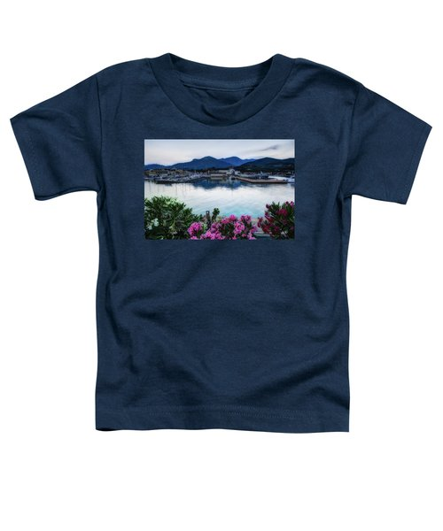 Loano Sunset Over Sea And Mountains With Flowers Toddler T-Shirt