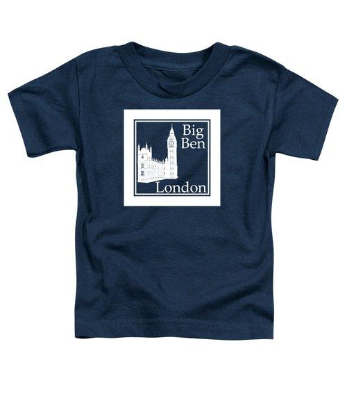 London's Big Ben In White - Inverse  Toddler T-Shirt