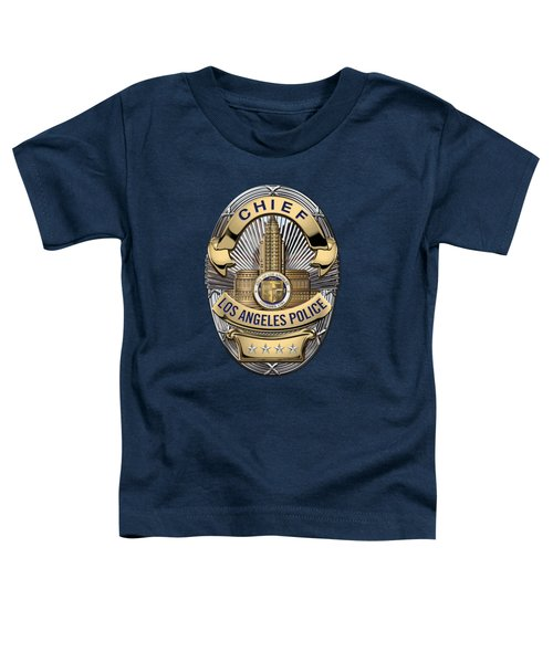 Los Angeles Police Department  -  L A P D  Chief Badge Over Blue Velvet Toddler T-Shirt by Serge Averbukh