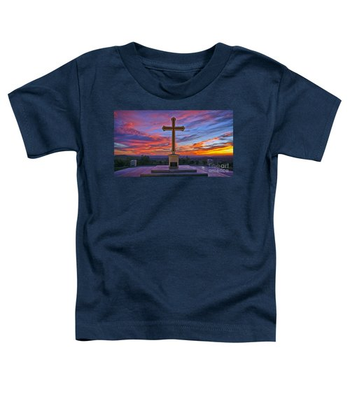 Christian Cross And Amazing Sunset Toddler T-Shirt