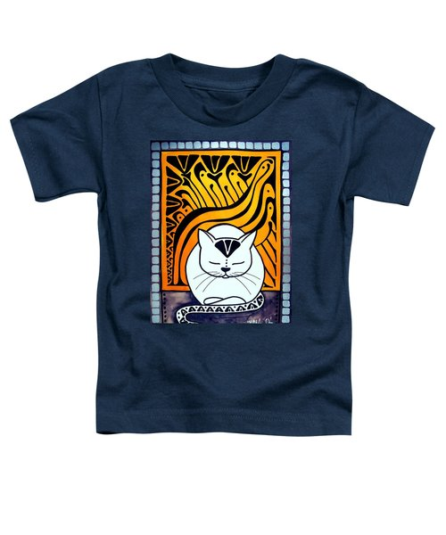 Toddler T-Shirt featuring the painting Meditation - Cat Art By Dora Hathazi Mendes by Dora Hathazi Mendes