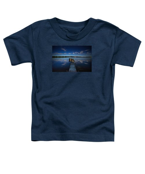Midnight At Shady Shore On Moose Lake Minnesota Toddler T-Shirt by Alex Blondeau