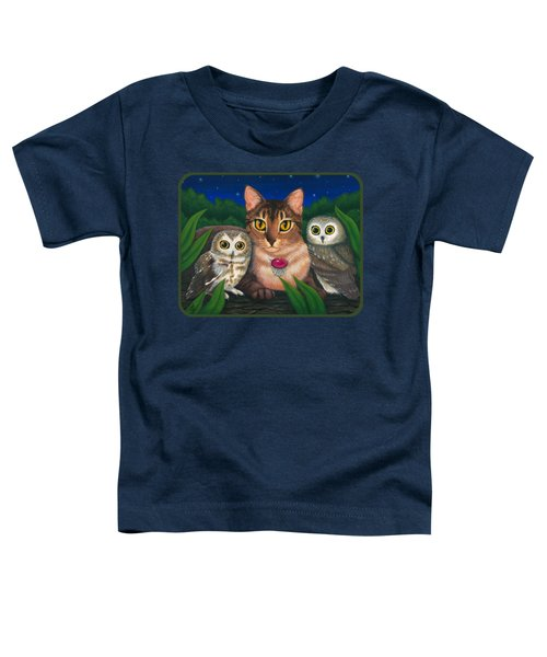 Midnight Watching - Abyssinian Cat Saw Whet Owls Toddler T-Shirt