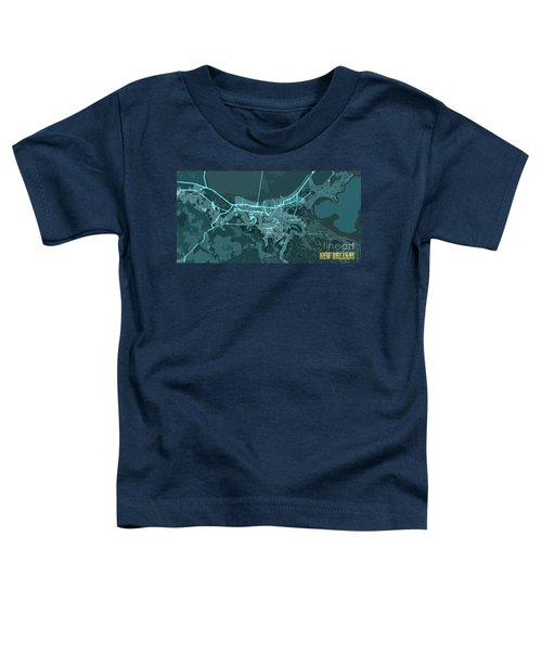New Orleans Old Map Abstract Blue Toddler T-Shirt