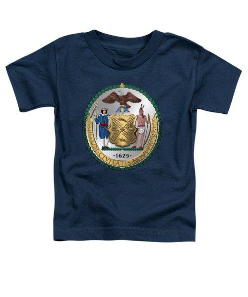 New York City Coat Of Arms - City Of New York Seal Over Blue Velvet Toddler T-Shirt