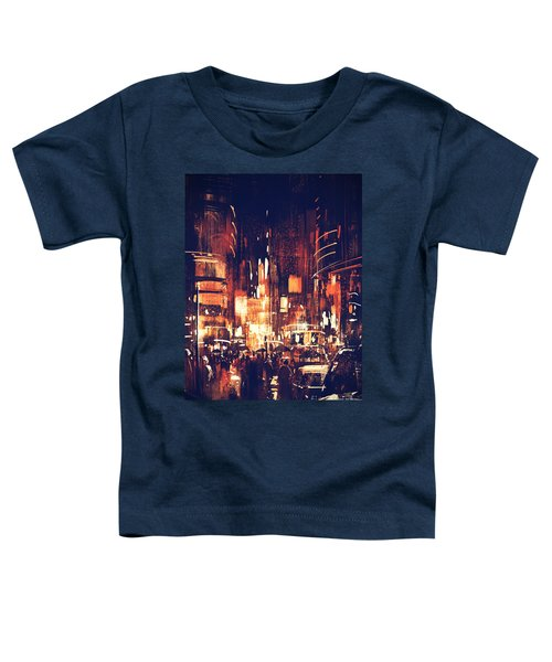 Toddler T-Shirt featuring the painting Night Life by Tithi Luadthong