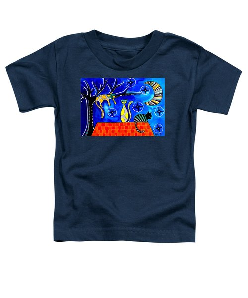 Night Shift - Cat Art By Dora Hathazi Mendes Toddler T-Shirt