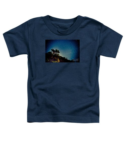 Night Sky Scene With Pine And Stars Toddler T-Shirt