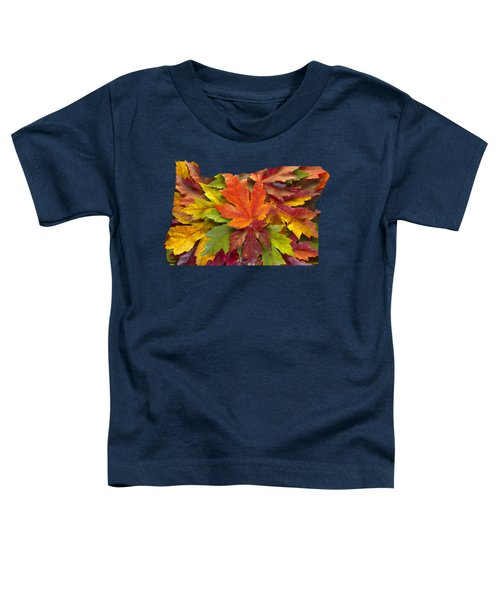 Oregon Maple Leaves Mixed Fall Colors Background Toddler T-Shirt