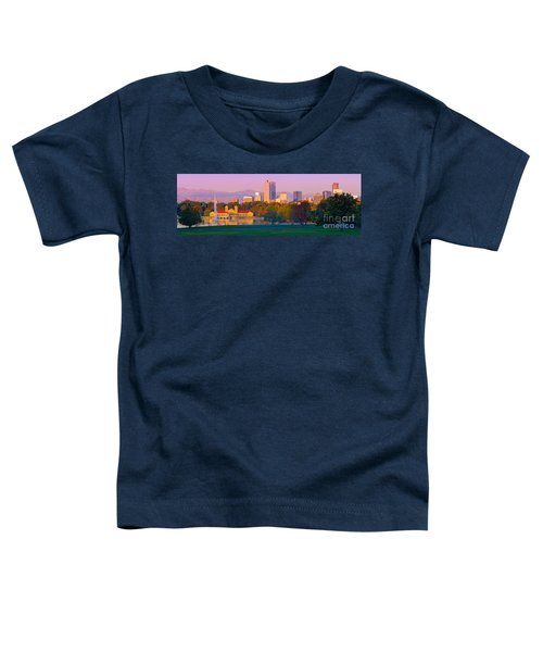 Panorama Of Denver Skyline From Museum Of Nature And Science - City Park Denver Colorado Toddler T-Shirt