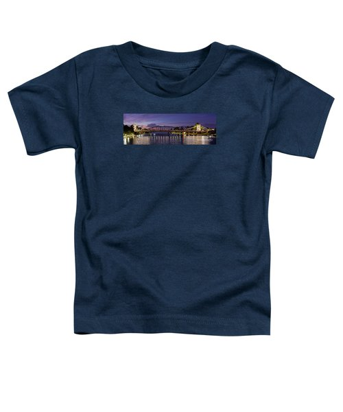 Panorama Of Waco Suspension Bridge Over The Brazos River At Twilight - Waco Central Texas Toddler T-Shirt
