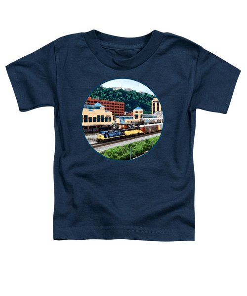 Pittsburgh Pa - Freight Train Going By Station Square Toddler T-Shirt by Susan Savad