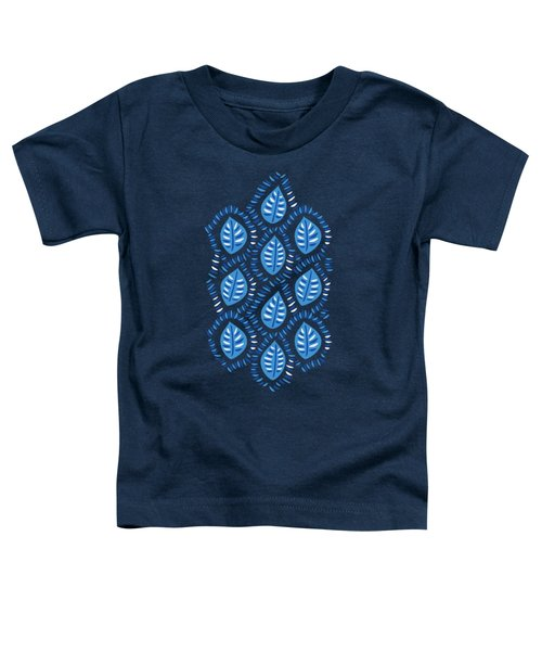 Pretty Decorative Blue Leaves Pattern Toddler T-Shirt
