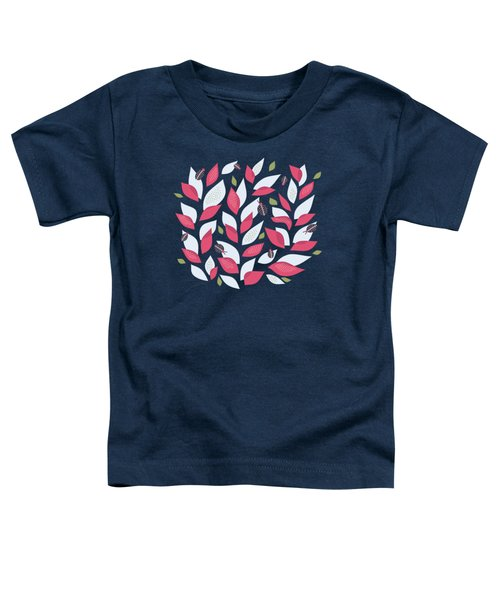 Pretty Plant With White Pink Leaves And Ladybugs Toddler T-Shirt