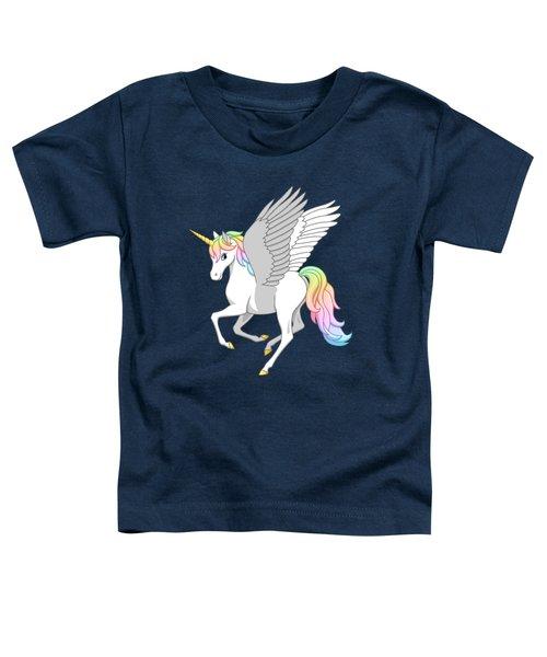 Pretty Rainbow Unicorn Flying Horse Toddler T-Shirt