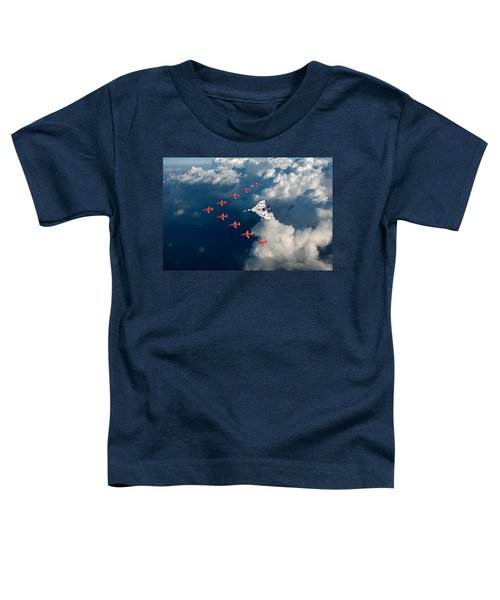 Red Arrows And Vulcan Above Clouds Toddler T-Shirt