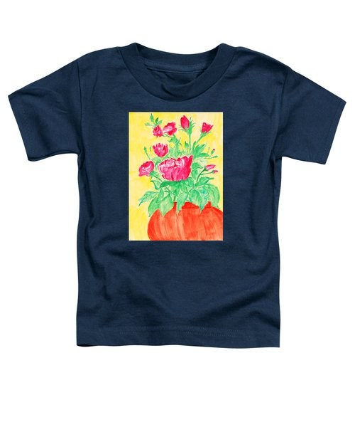 Red Flowers In A Brown Vase Toddler T-Shirt