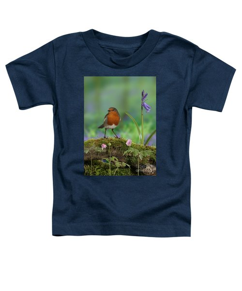 Robin In Spring Wood Toddler T-Shirt