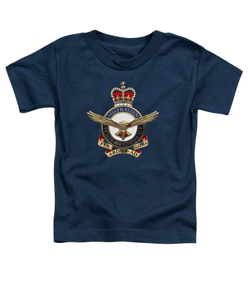 Royal Australian Air Force -  R A A F  Badge Over Blue Velvet Toddler T-Shirt