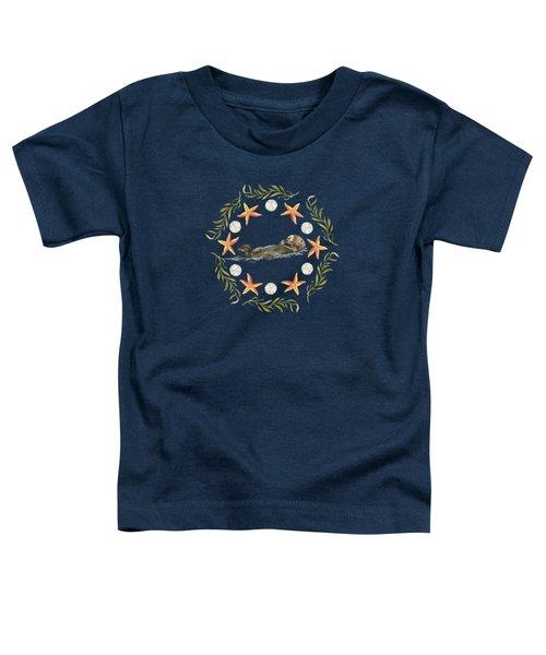 Sea Otter Mandala Toddler T-Shirt by Cindy Skidgel