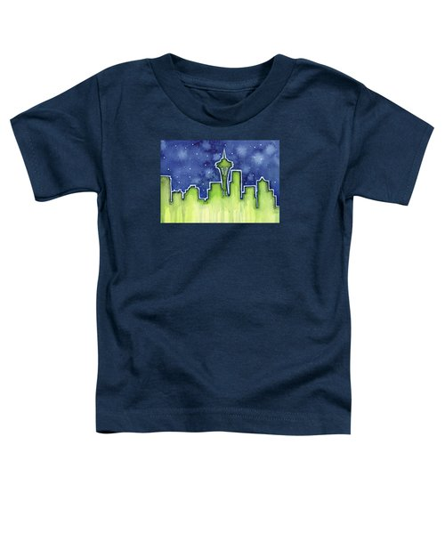 Seattle Night Sky Watercolor Toddler T-Shirt by Olga Shvartsur