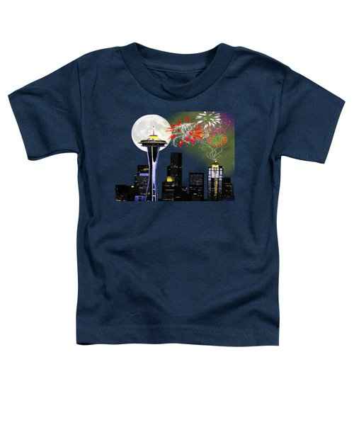 Seattle Skyline Toddler T-Shirt by Methune Hively