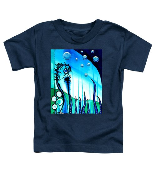 Toddler T-Shirt featuring the painting Seaweed - Art By Dora Hathazi Mendes by Dora Hathazi Mendes