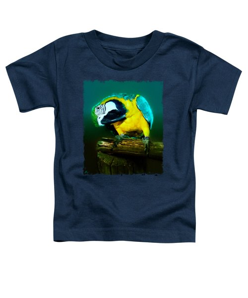 Silly Maya The Macaw Parrot Toddler T-Shirt by Linda Koelbel
