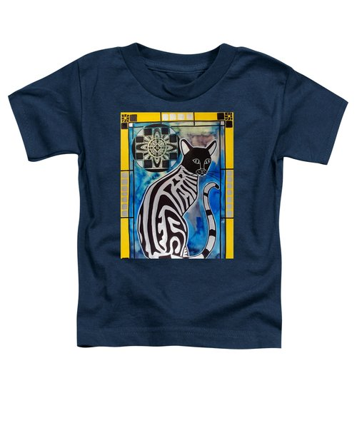 Toddler T-Shirt featuring the painting Silver Tabby With Mandala - Cat Art By Dora Hathazi Mendes by Dora Hathazi Mendes