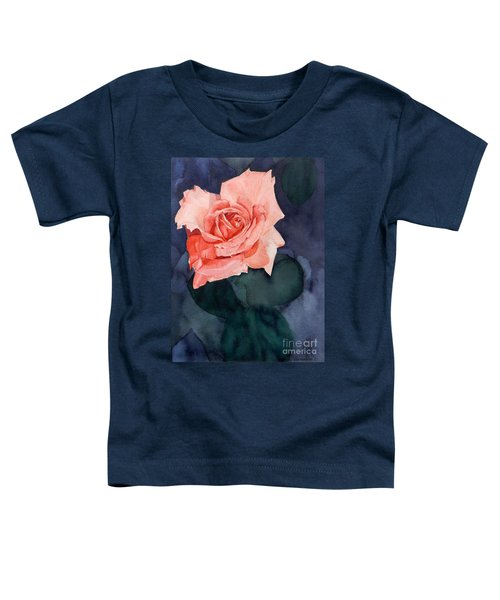 Watercolor Of A Magic Bright Single Red Rose Toddler T-Shirt