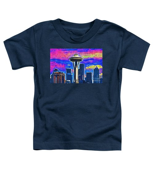 Space Needle Colorful Sky Toddler T-Shirt