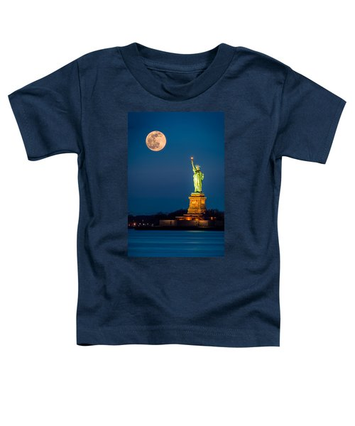 Statue Of Liberty And A Rising Supermoon In New York City Toddler T-Shirt