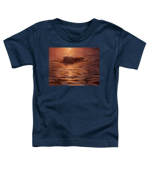 Sea Otters Floating With Kelp At Sunset - Coastal Decor - Ocean Theme - Beach Art Toddler T-Shirt