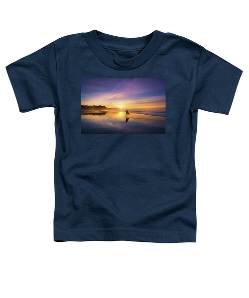 Surfer In Beach At Sunset Toddler T-Shirt
