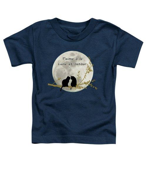 Toddler T-Shirt featuring the digital art T'aime A La Lune Et Retour by Linda Lees