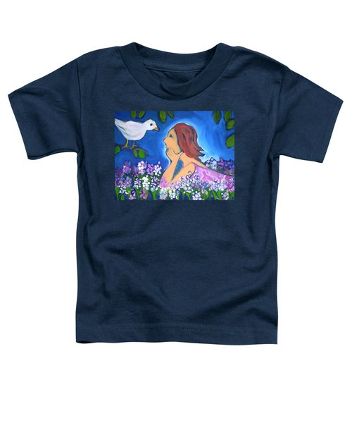 Toddler T-Shirt featuring the painting The Bird by Winsome Gunning