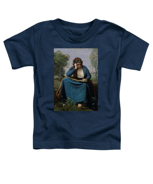 The Reader Crowned With Flowers Toddler T-Shirt by Jean Baptiste Camille Corot