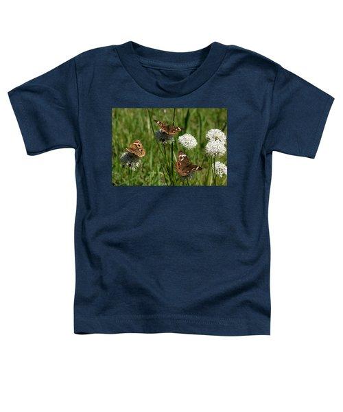 Three Buckeye Butterflies On Wildflowers Toddler T-Shirt