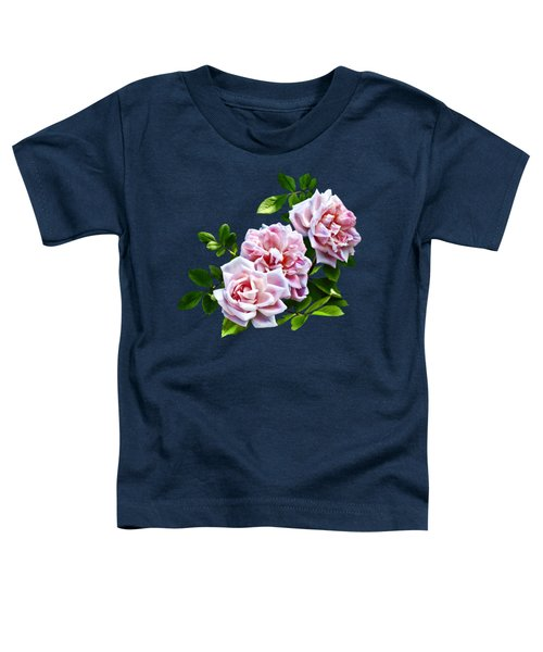 Three Pink Roses With Leaves Toddler T-Shirt